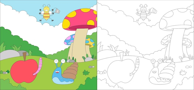 Coloring page cute animal wildlife snail worm and bee