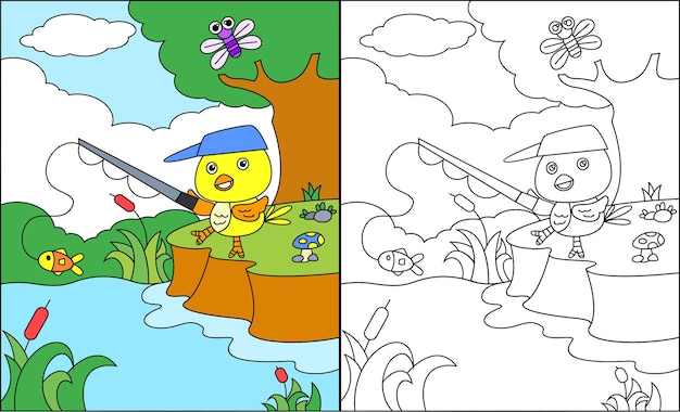 Coloring page of cute bird fishing fish on the lake