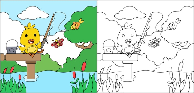 Coloring page of cute duck fishing fish on the lake