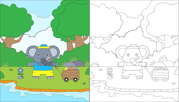Coloring page of cute elephant fishing fish on the lake