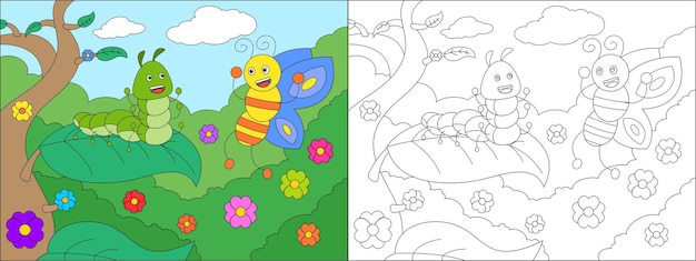 Coloring page of cute insect caterpillar and butterfly