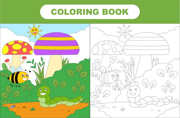 Coloring page of cute insect