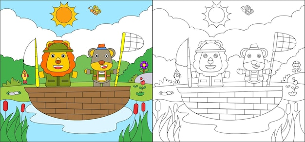 Coloring page of cute lion fishing fish on the lake