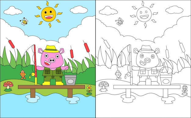 Coloring page of cute pig fishing fish on the lake