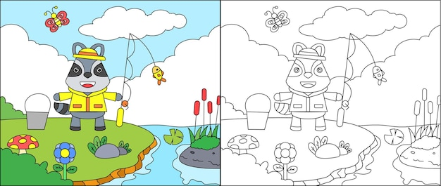 Coloring page of cute raccoon fishing fish on the lake