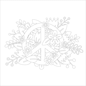 Coloring page design with peace symbol