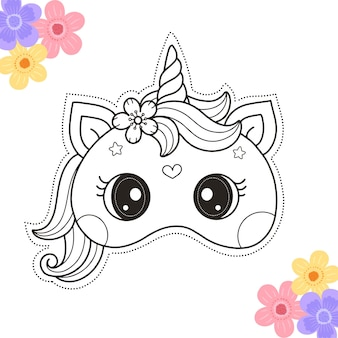 Coloring page of diy unicorn crafts masks for kids printable template