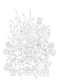 ぬりえ。花の黒と白