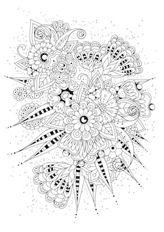 大人のぬりえ。黒と白の花のベクトルの背景。
