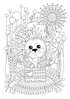Раскраска для детей и взрослых. в саду стоит мультяшный ёжик с улиткой на руках. черно-белый рисунок для раскрашивания.