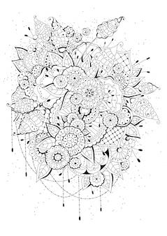 子供と大人のためのぬりえ。ブラックホワイトの花の背景。