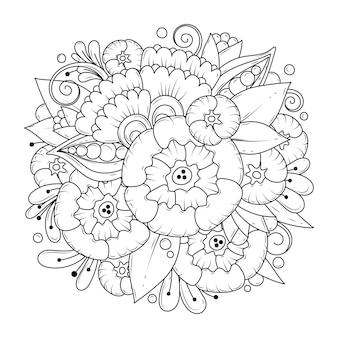 Раскраска для детей и взрослых. растительный орнамент для раскраски. черно-белый ботанический фон.