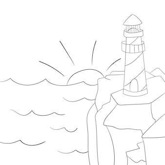 Раскраска для детей. мультяшный маяк. векторная иллюстрация