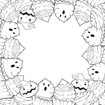 Coloring page: frame with halloween cupcakes, cream, bat, pumpkin, witch hat.