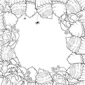 Coloring page: frame with halloween cupcakes, cream, spider, witch hat.