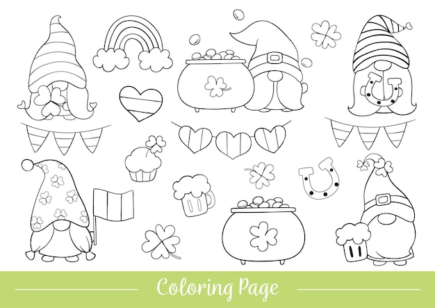 Coloring page of gnome for st patrick day.