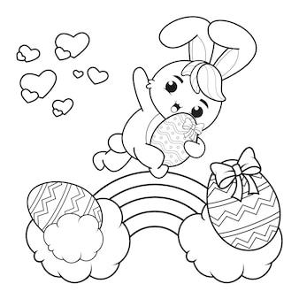 Bunny_30와 함께 행복 한 부활절 색칠 페이지