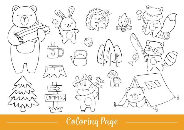 색칠 공부 페이지 행복한 삼림지 동물 캠핑