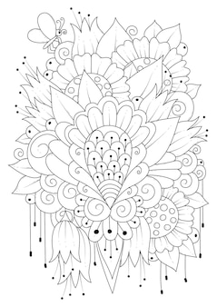 Coloring page illustration with flowers and a butterfly