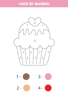 Coloring page for kids. cute cartoon cupcake. color by numbers.