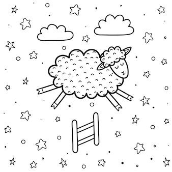 Coloring page for kids with a cute sheep jumping over the fence. counting sheep black and white background. good night illustration