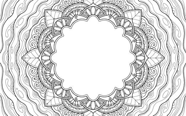 Coloring page mandala design with text space