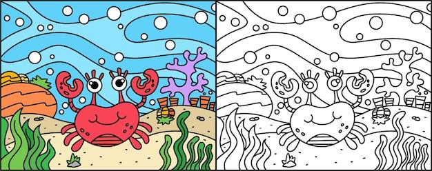 아이들을위한 바다의 귀여운 게 색칠 페이지