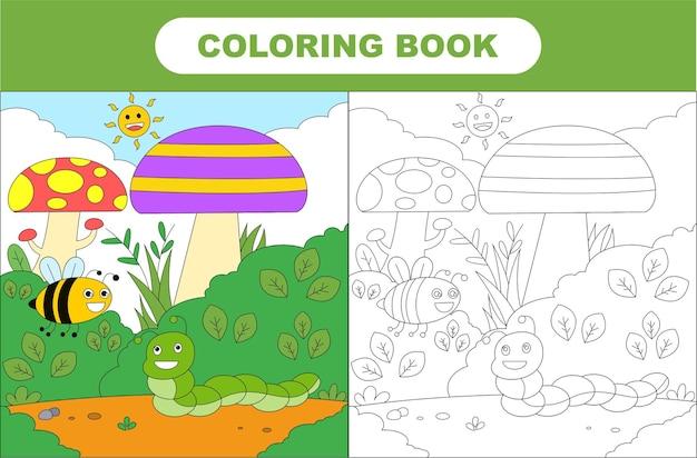 귀여운 곤충의 색칠 공부 페이지