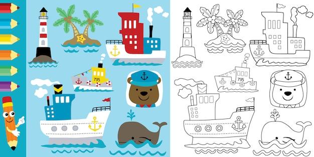 재미있는 동물들과 함께 항해 테마 만화의 색칠 페이지