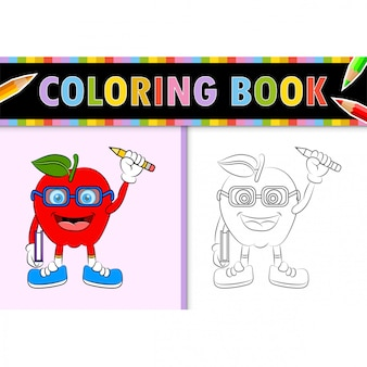 Coloring page outline of cartoon apple. colorful  illustration, coloring book for kids.