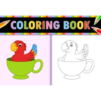 Coloring page outline of cartoon bird. colorful  illustration, coloring book for kids.