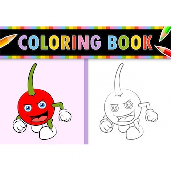 Coloring page outline of cartoon cherry. colorful  illustration, coloring book for kids.