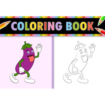 Coloring page outline of cartoon eggplant. colorful  illustration, coloring book for kids.
