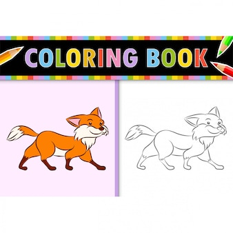 Coloring page outline of cartoon fox. colorful  illustration, coloring book for kids.