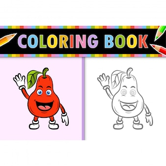 Coloring page outline of cartoon guava. colorful  illustration, coloring book for kids.