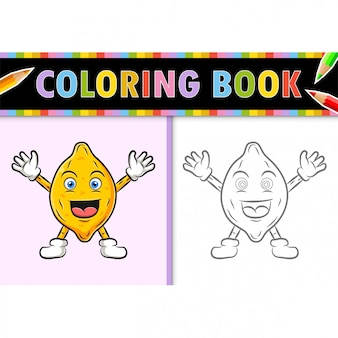 Coloring page outline of cartoon lemon. colorful  illustration, coloring book for kids.
