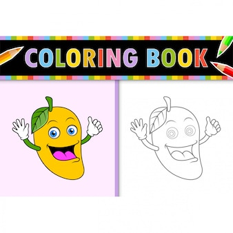 Coloring page outline of cartoon mango. colorful  illustration, coloring book for kids.