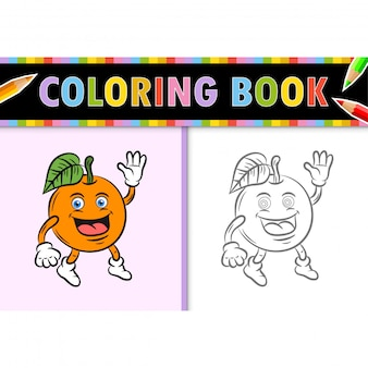 Coloring page outline of cartoon orange. colorful  illustration, coloring book for kids.