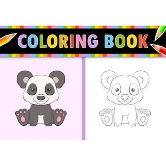 Coloring page outline of cartoon panda. colorful  illustration, coloring book for kids.