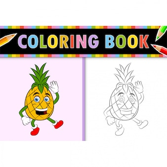 Coloring page outline of cartoon pineapple. colorful  illustration, coloring book for kids.