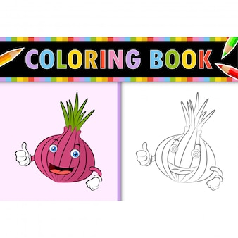 Coloring page outline of cartoon shallot. colorful  illustration, coloring book for kids.