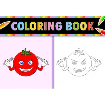 Coloring page outline of cartoon tomato. colorful  illustration, coloring book for kids.