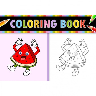 Coloring page outline of cartoon watermelon. colorful  illustration, coloring book for kids.