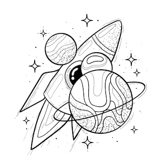 Coloring page rocket in space