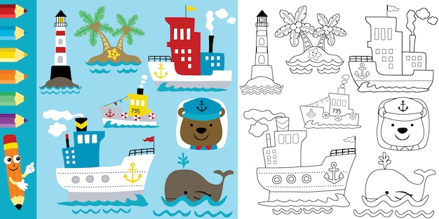 Coloring page of sailing theme cartoon with funny animals