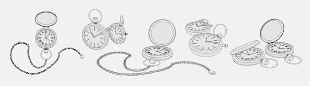 포켓 시계의 현실적인 3d 모델로 설정된 색칠 페이지