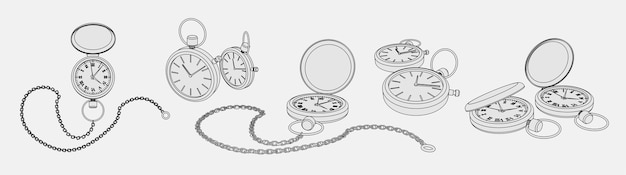 Coloring page set with realistic 3d models of pocket watches