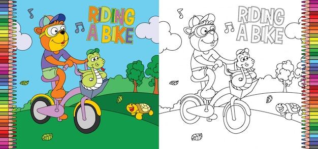 Coloring page of tiger riding a bike with snake on the park