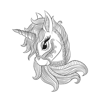 Coloring page of unicorn, for adult antistress coloring book cover.