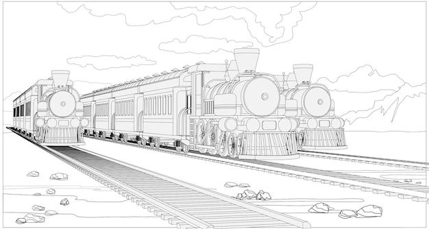 3dモデルの列車でページを着色します。